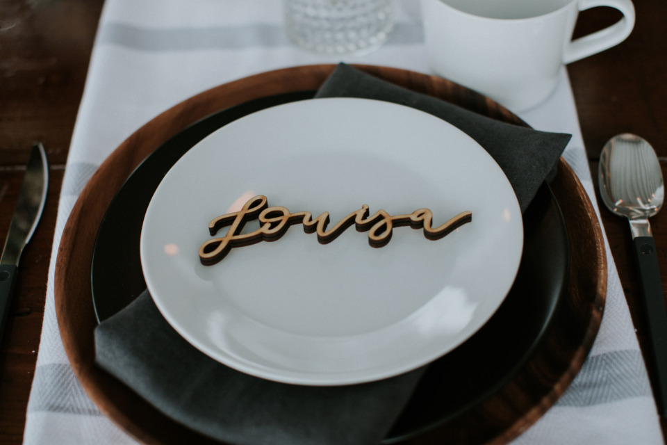 lasercut wood wedding placecards