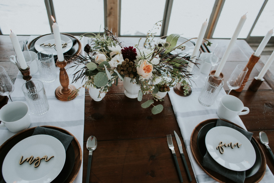 modern winter wedding reception