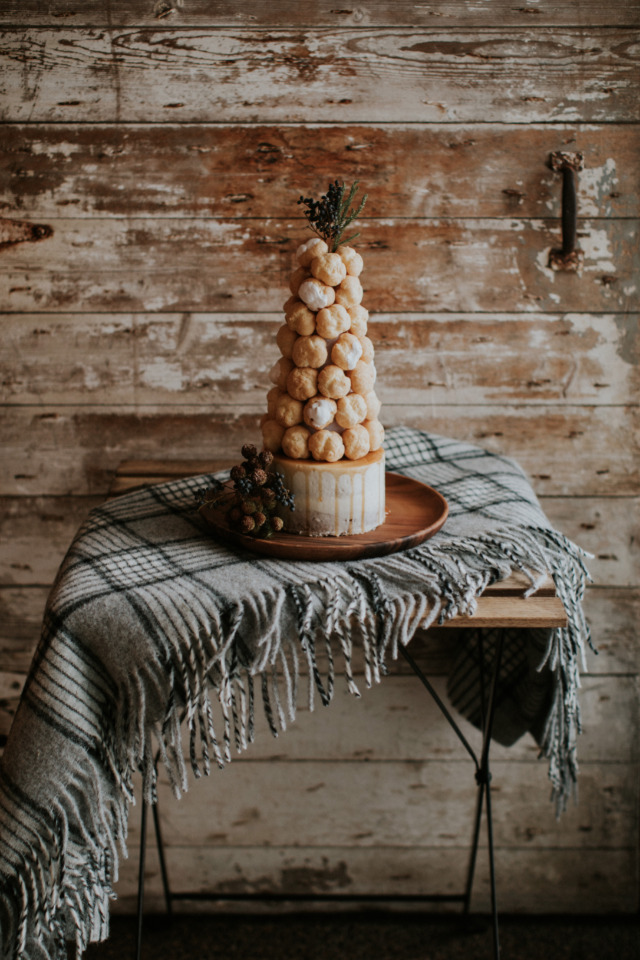 french puff topped wedding cake