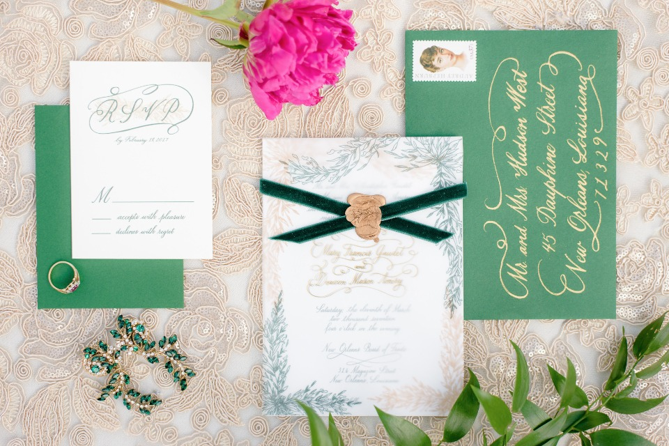 elegant green and gold wedding stationery