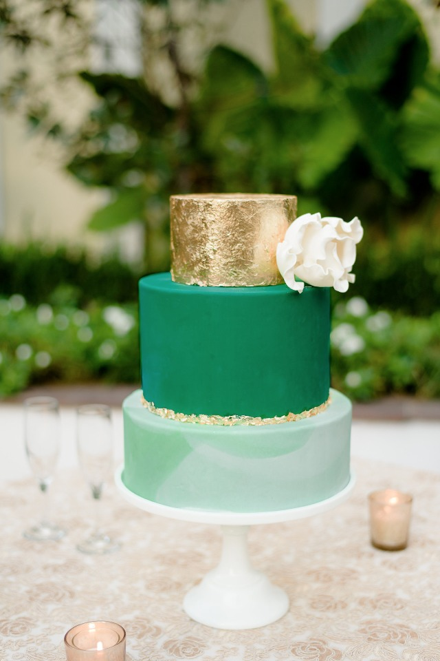 gold green and marbled wedding cake