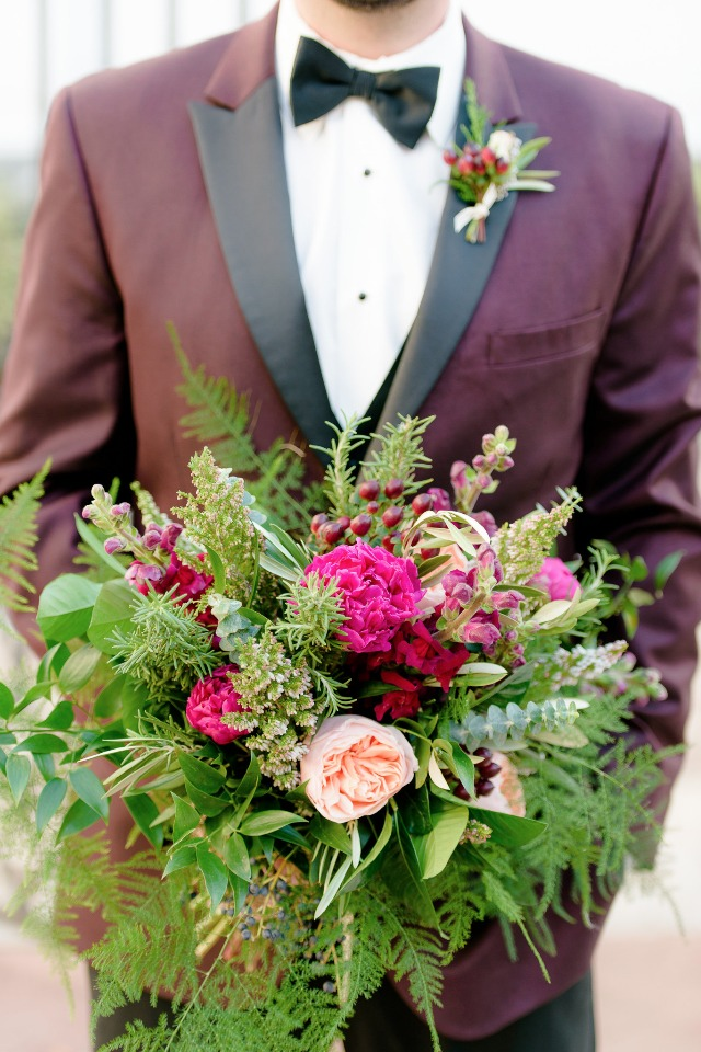 wedding bouquet in green and deep pinks