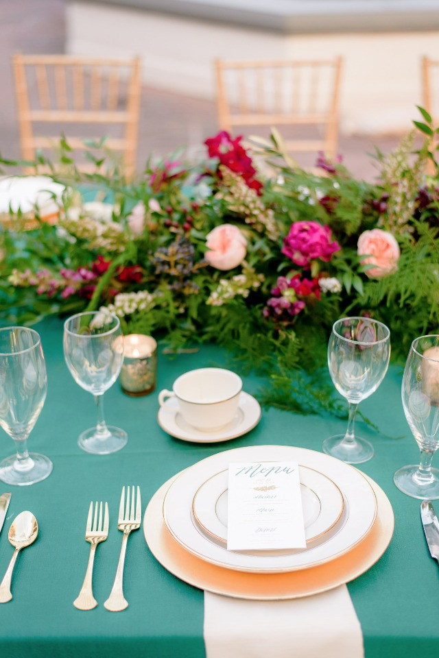 place setting in green and gold