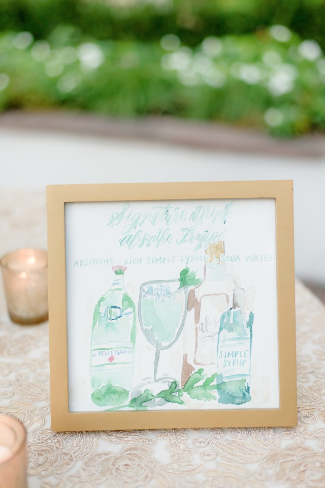 watercolor cocktail menu