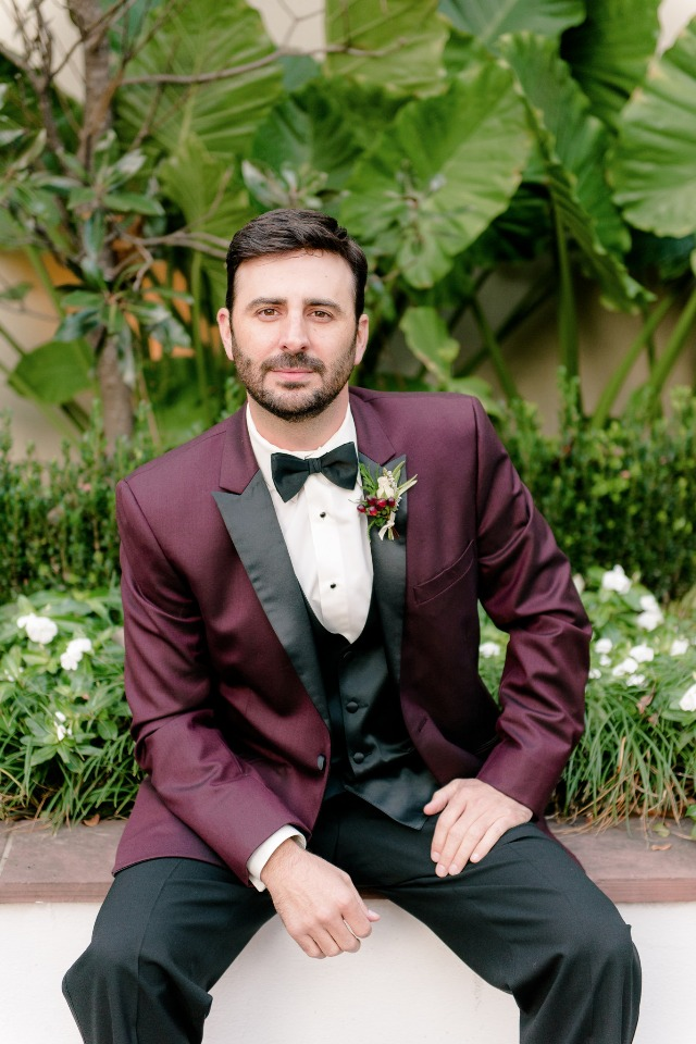 burgundy and black groom tux