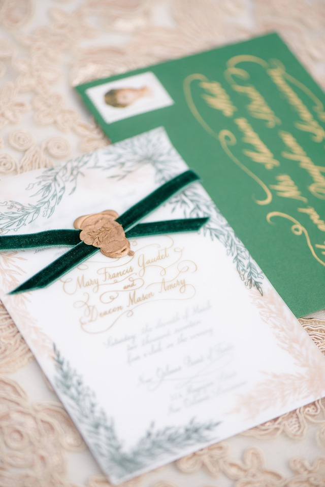 emerald and gold wedding stationery