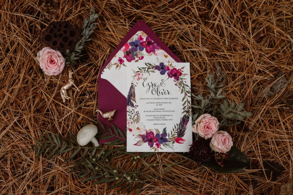 Jewel toned invitation suite