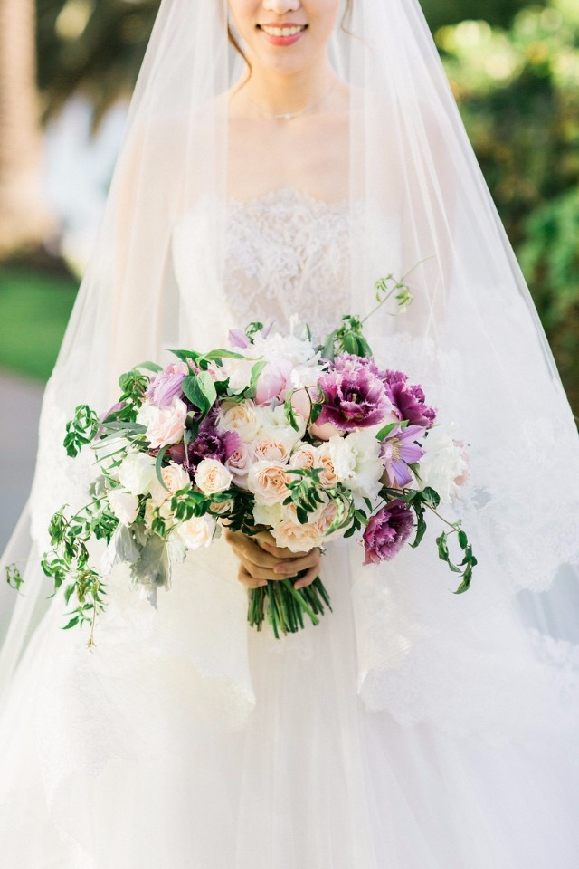 purple and blush wedding bouquet by Seed Floral
