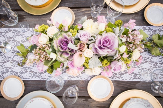 purple and pink rustic chic wedding table
