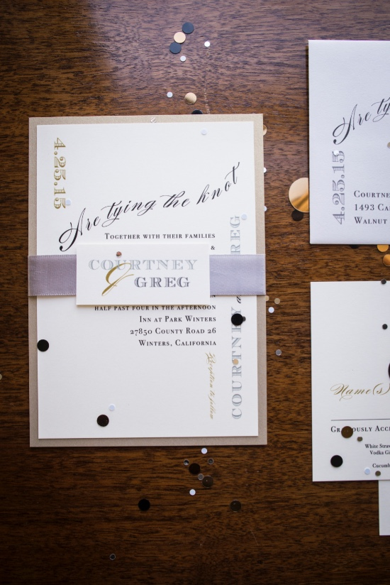 a touch of purple and fun wedding invitation