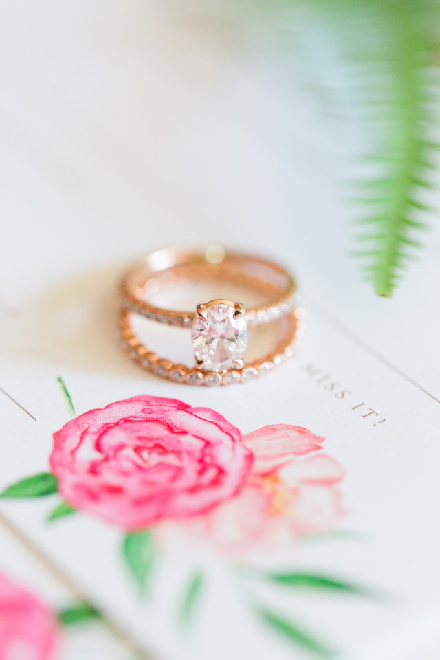 gold and diamond engagement ring and wedding band