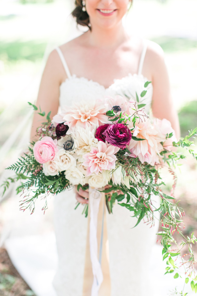pink white and berry wedding bouquet