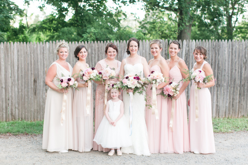 mix and match pink and blush bridesmaids dresses