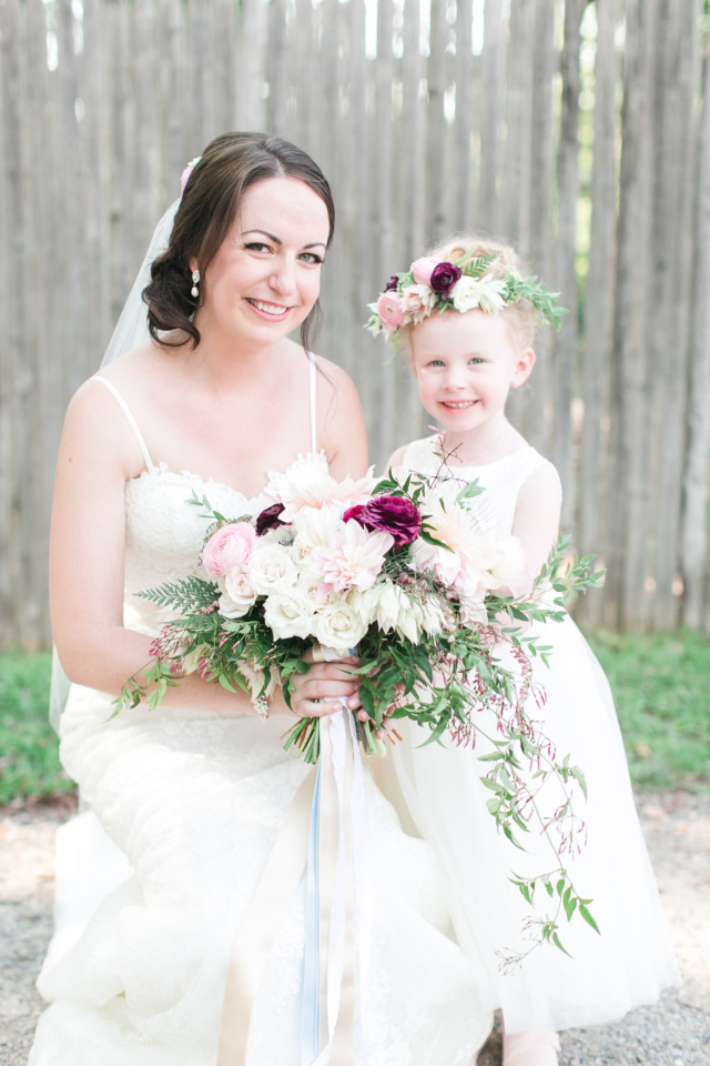 adorable flower girl with floral crown
