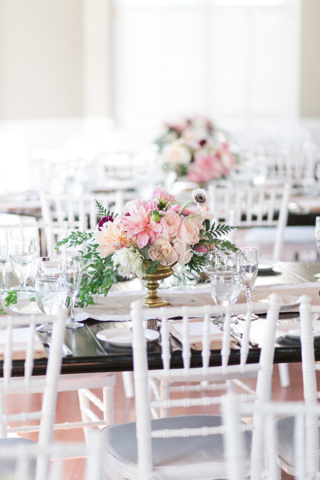 gorgeous pink and white wedding reception