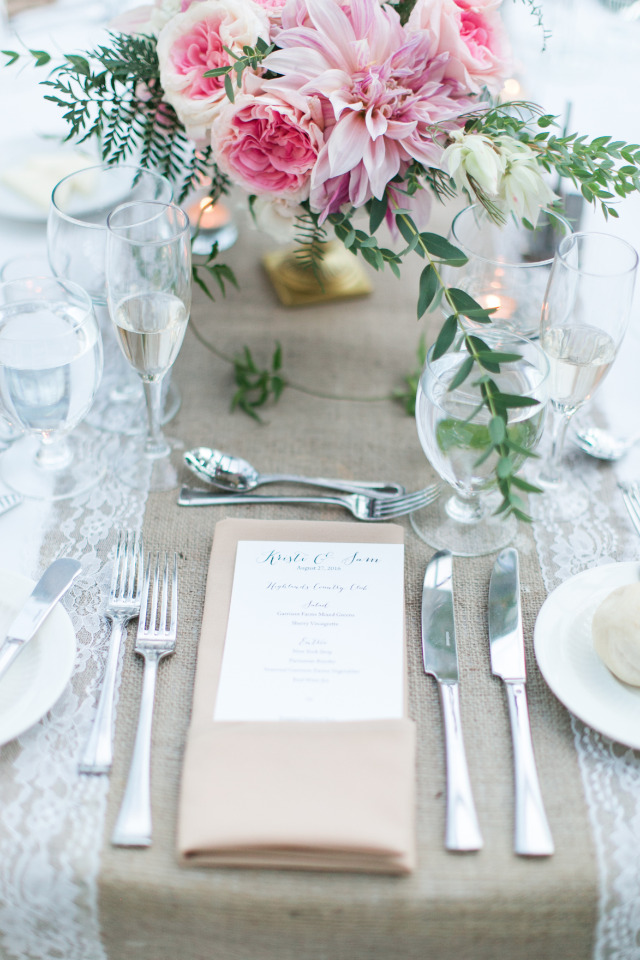 simple and lovely wedding table setting