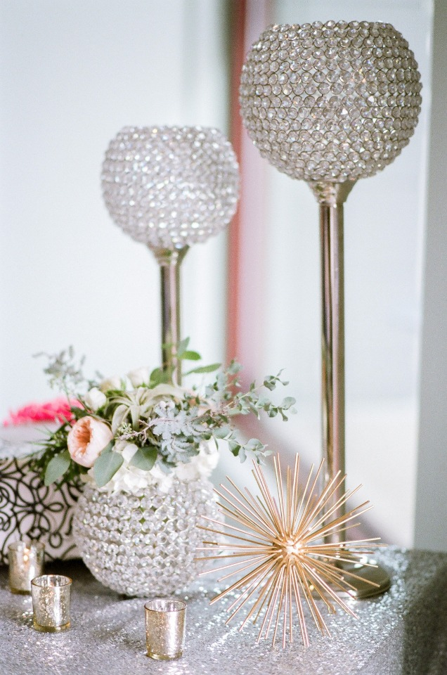 glam modern wedding decor