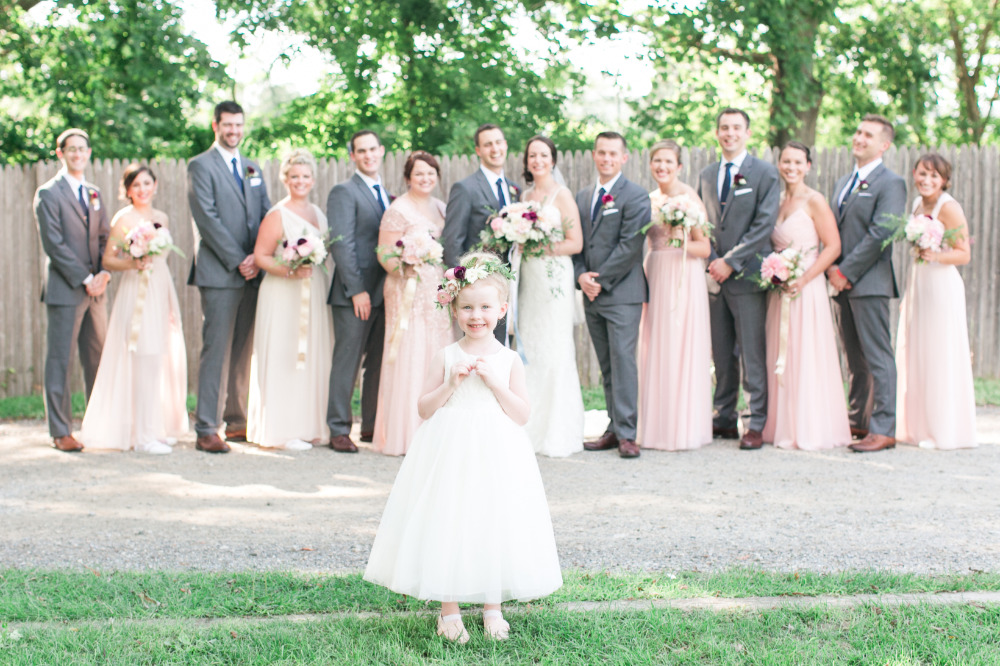 pink and grey wedding party attire