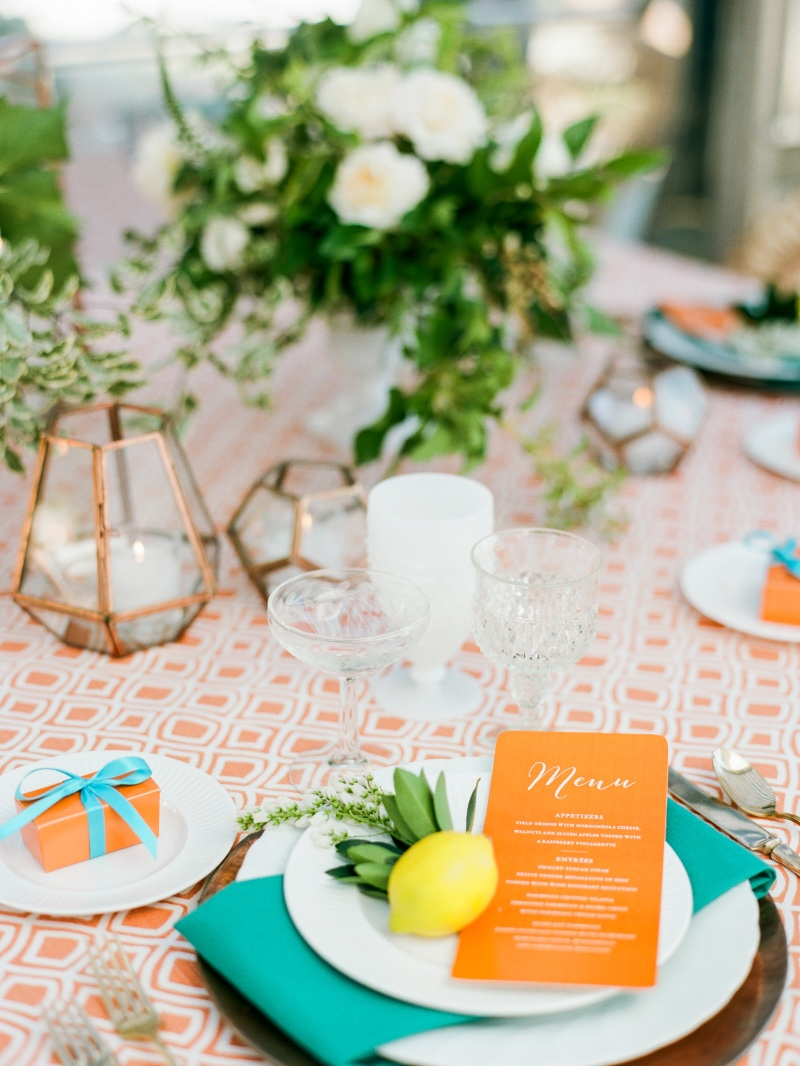 Table Design featuring Orange and Copper by Magnolia Event Design