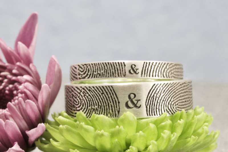 Unique Set of You and Me Forever Comfort Fit Fingerprint Wedding Bands in Sterling Silver