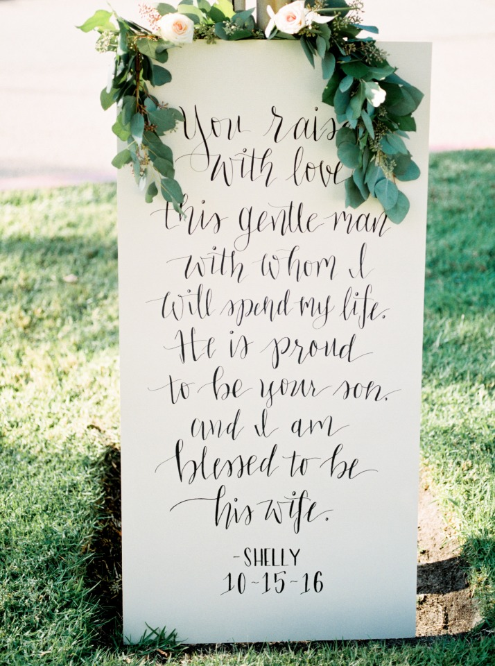 Wedding sign from the bride