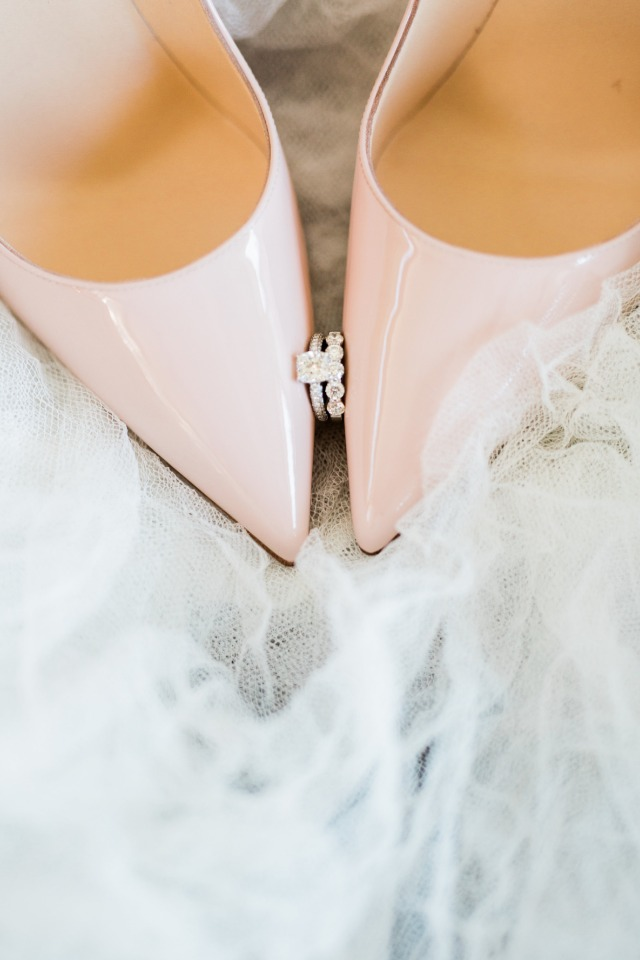 Blush heels and sparkly rings