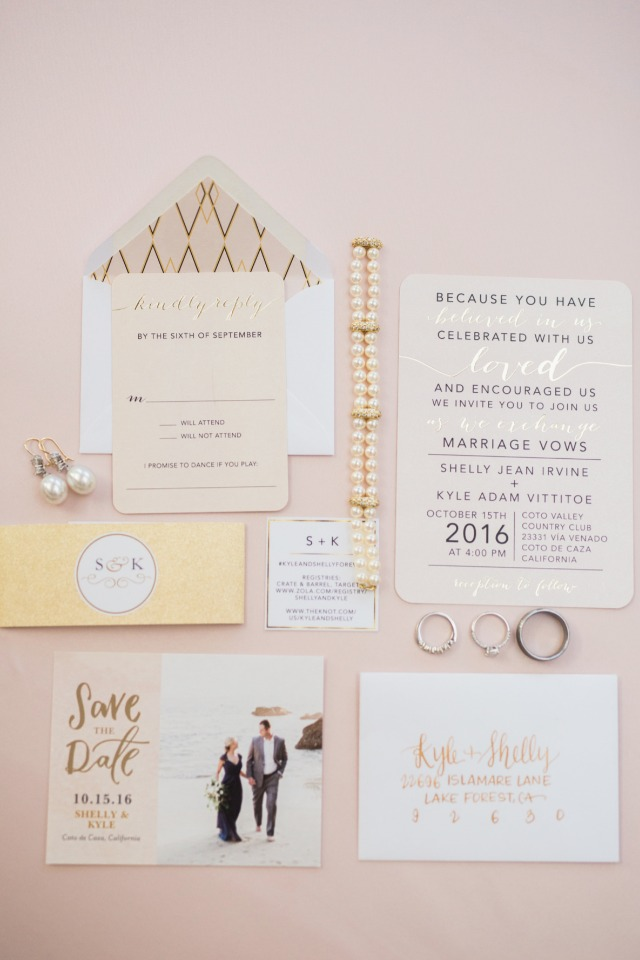 Blush and gold invitation suite