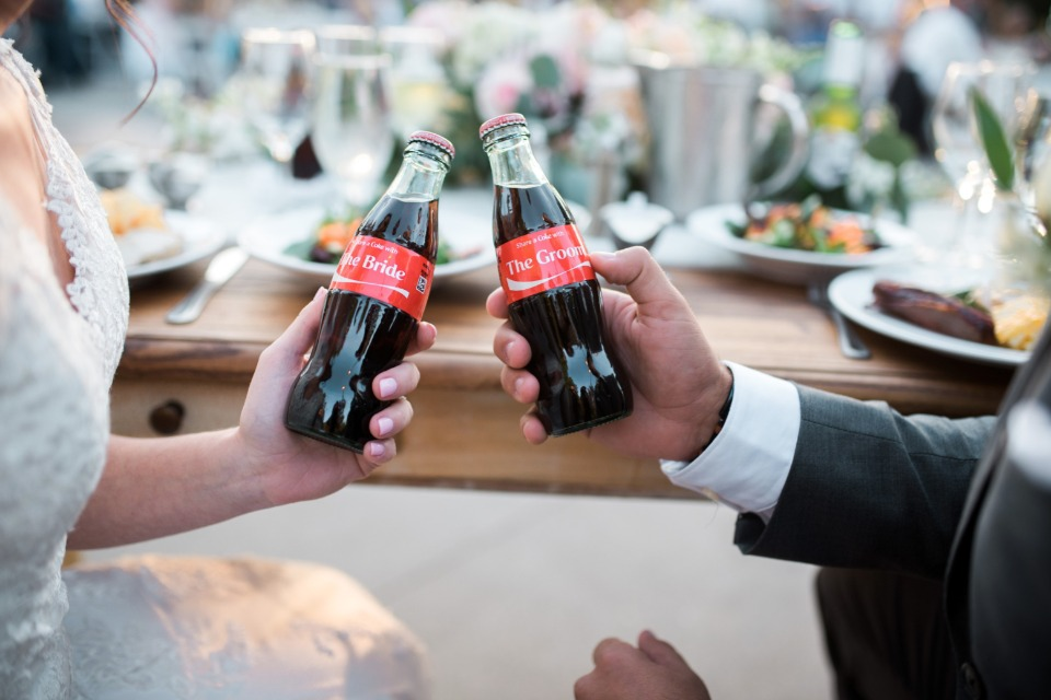 Bride and groom cokes