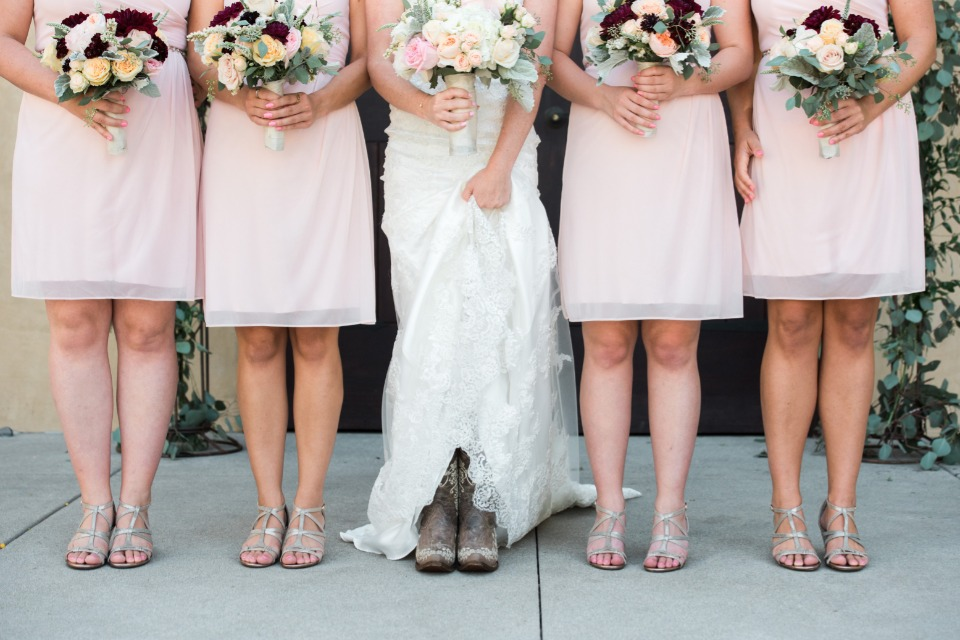 Bride in cowgirl boots