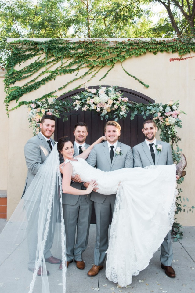 Bride and the groomsmen