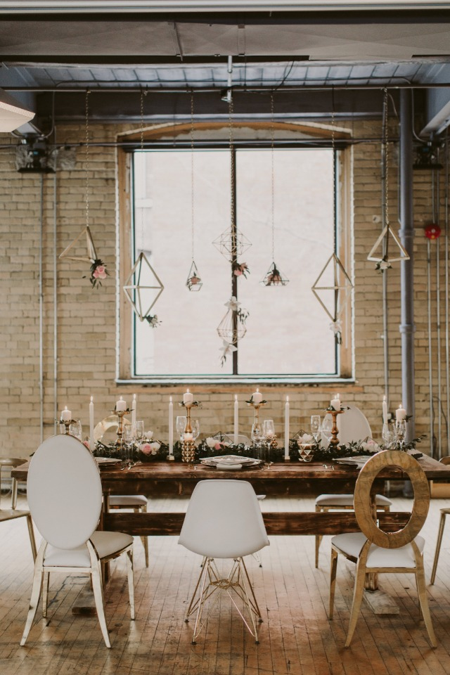 modern mismatched gold and white industrial wedding table