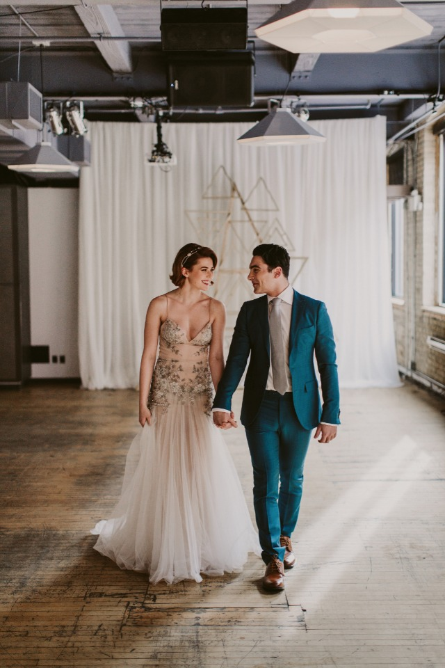 modern chic bride and groom