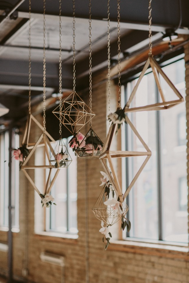 geometric floral hanging wedding decor