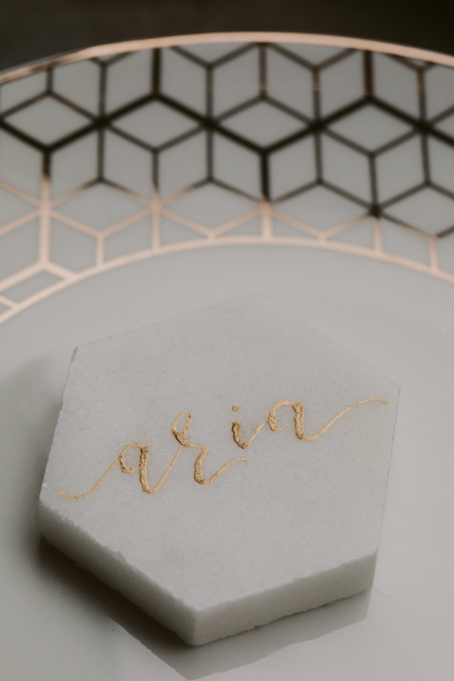 hexagon modern placecard