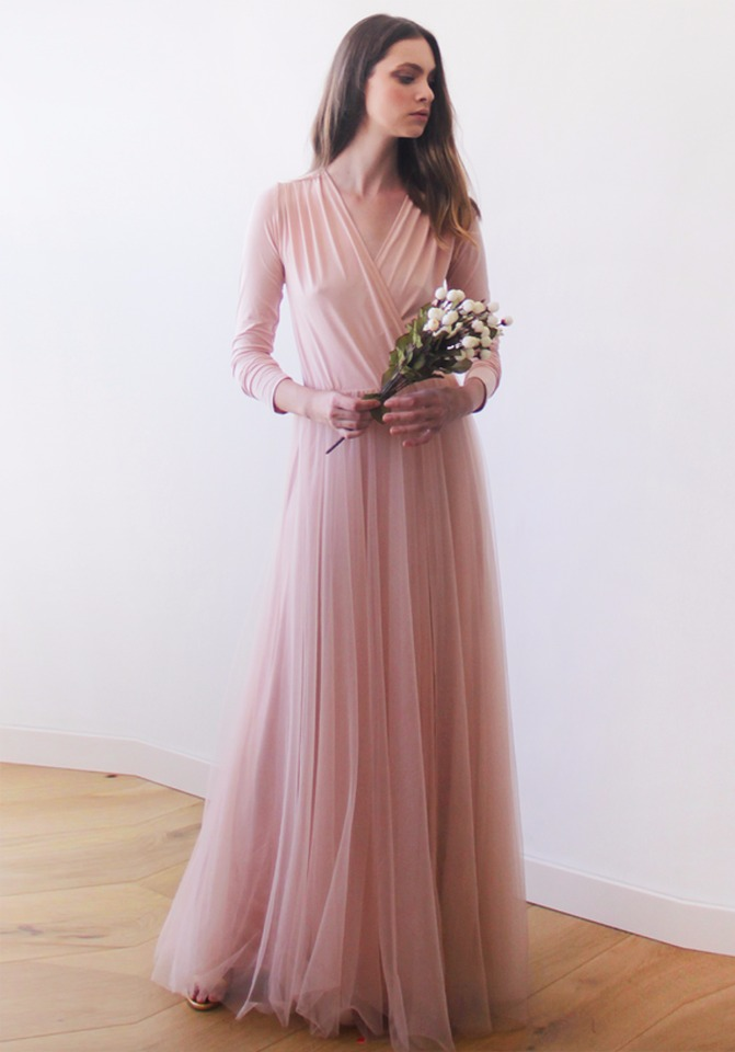 long sleeve pink tulle bridesmaid dress