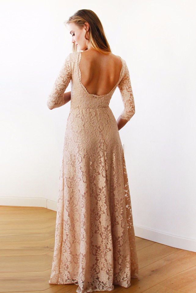 long sleeve lace bridesmaid dress