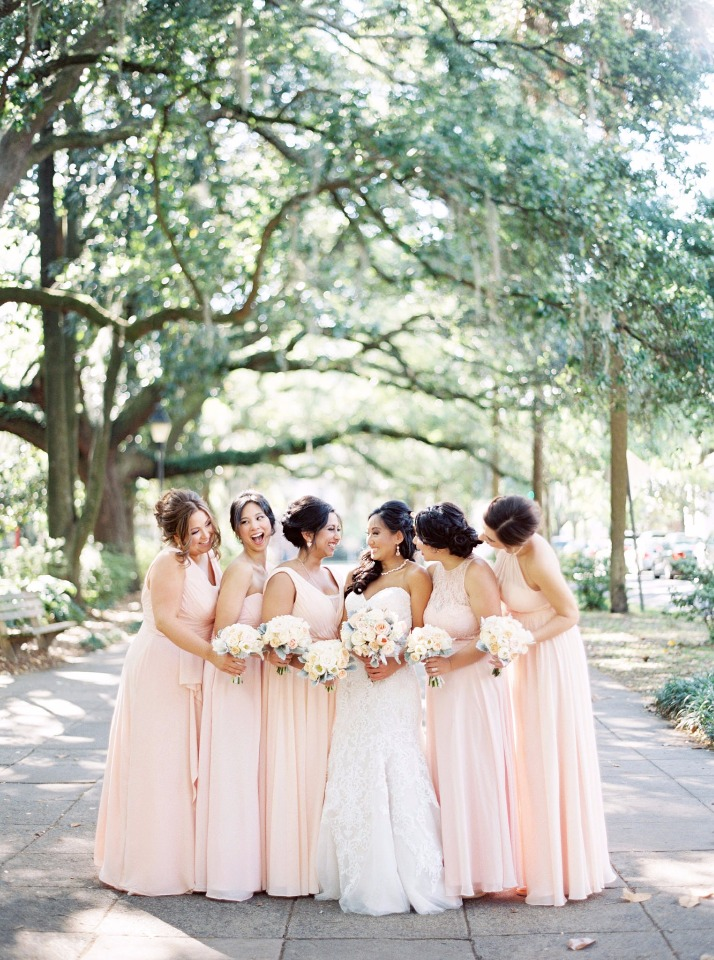 Pearl pink bridesmaid dresses from Azazie