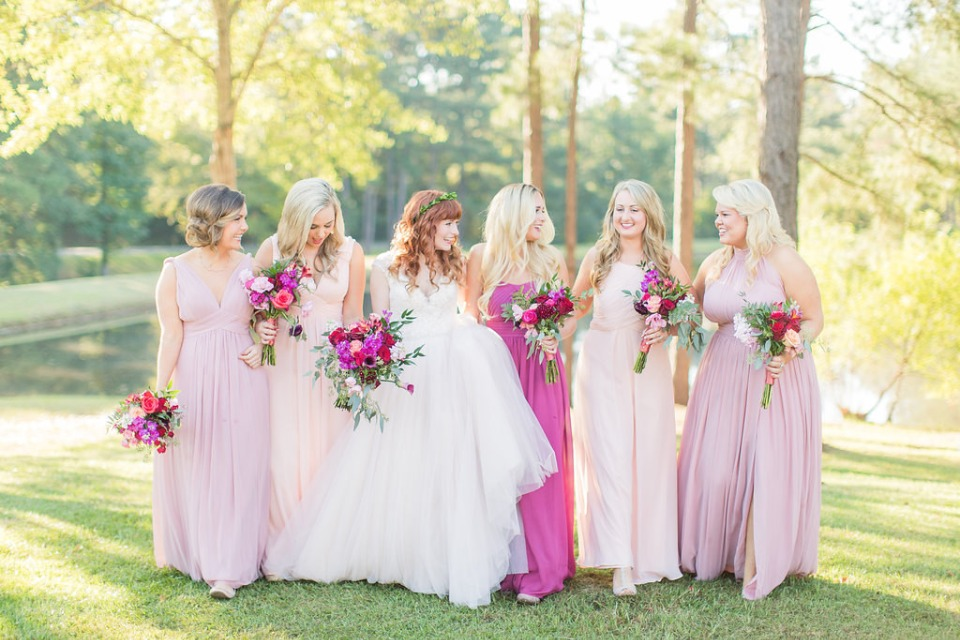 Shades of pink bridesmaid dresses from Azazie