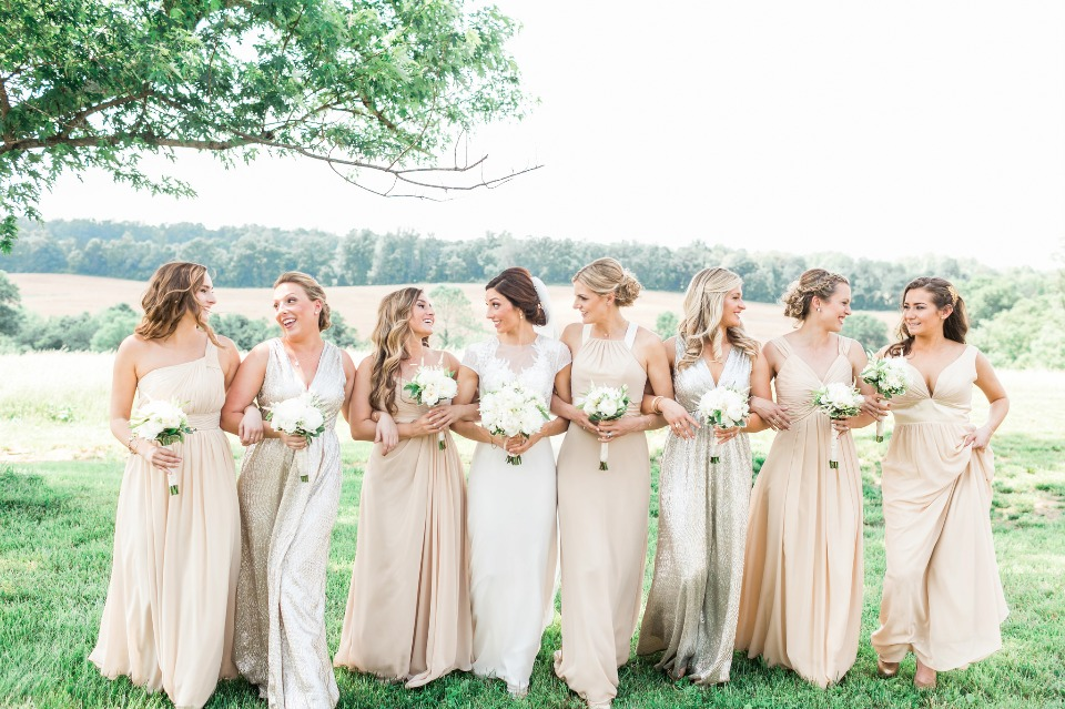 Champagne Bridesmaid dresses from Azazie