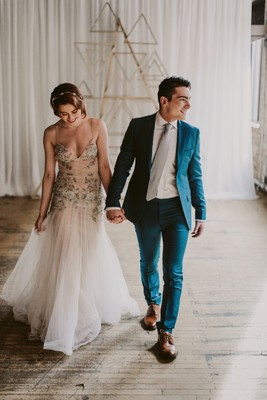 Modern Industrial Gold And White Wedding With A Love For Geometry