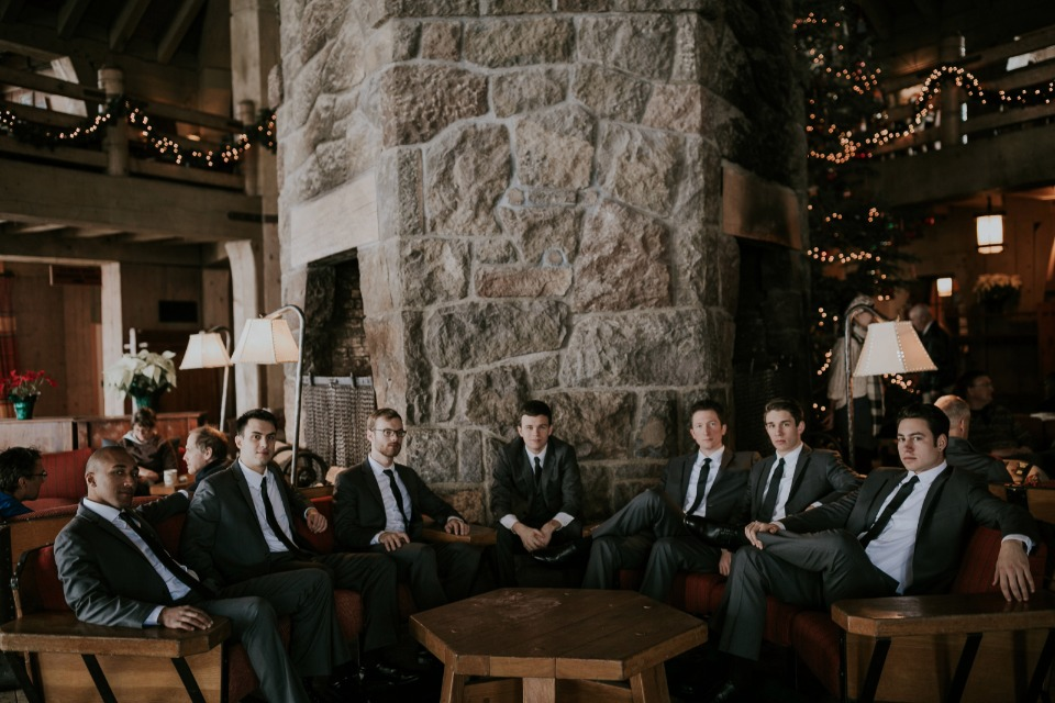 groom and his men at Timberline Lodge