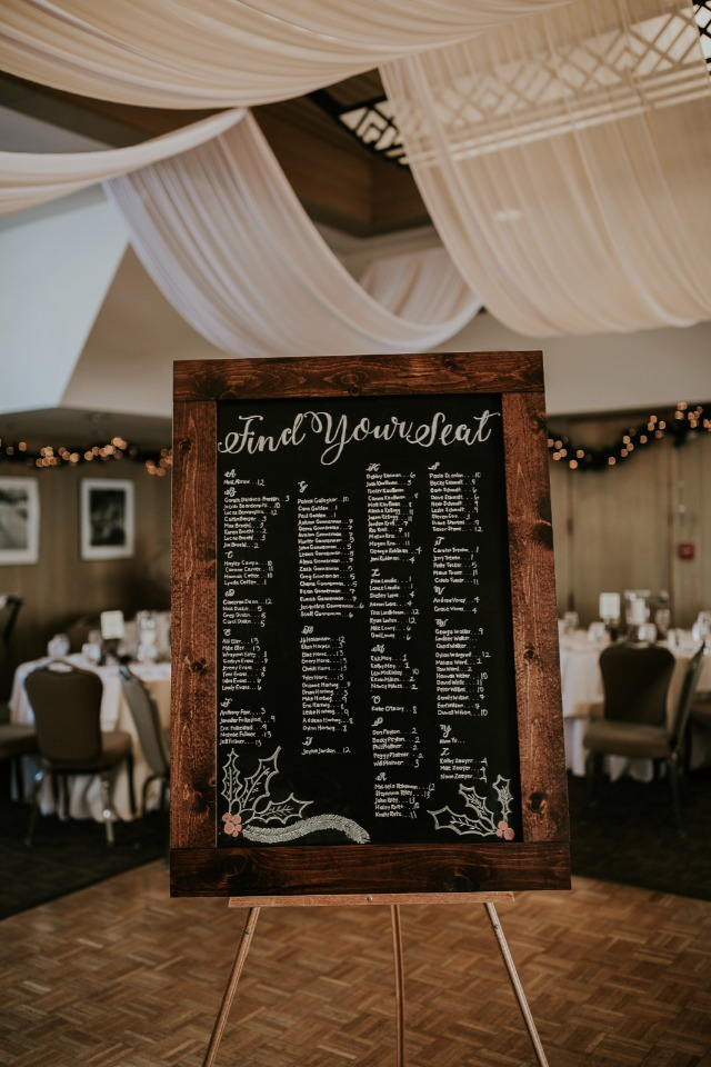 rustic chalkboard wedding seating assignment display