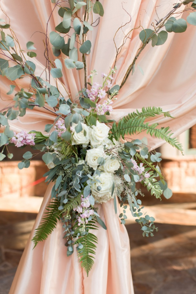 flower accented wedding curtains