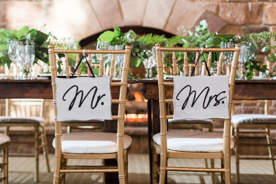 mr and mrs wedding seat signs