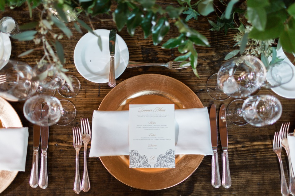 gold and organic wedding table