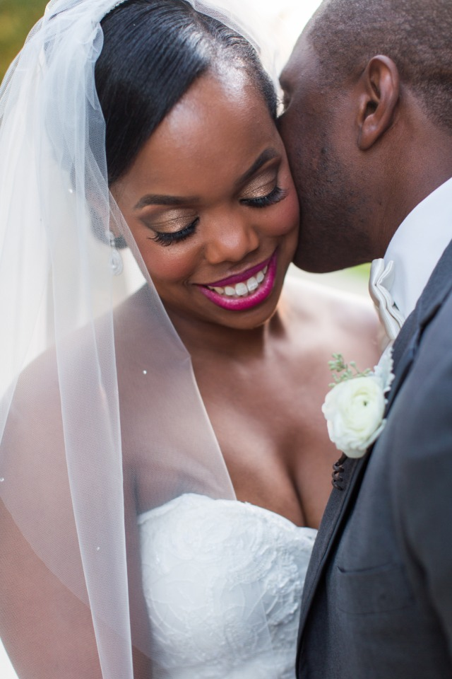 beautiful bride with pink lip