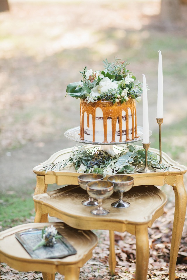 Caramel drizzle naked cake with floral topper