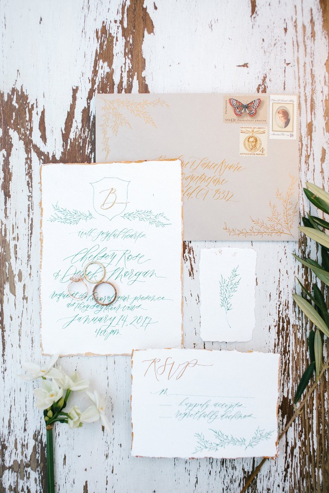 Green and gold calligraphy invitation suite