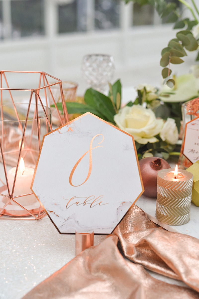 Table Number -copper and marble