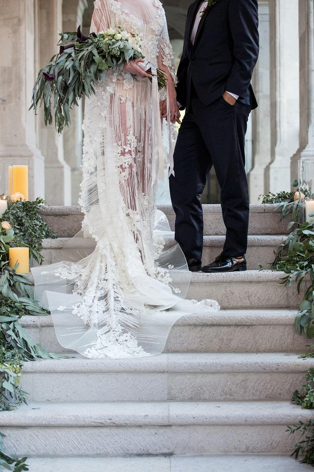 wedding ceremony on a staircase